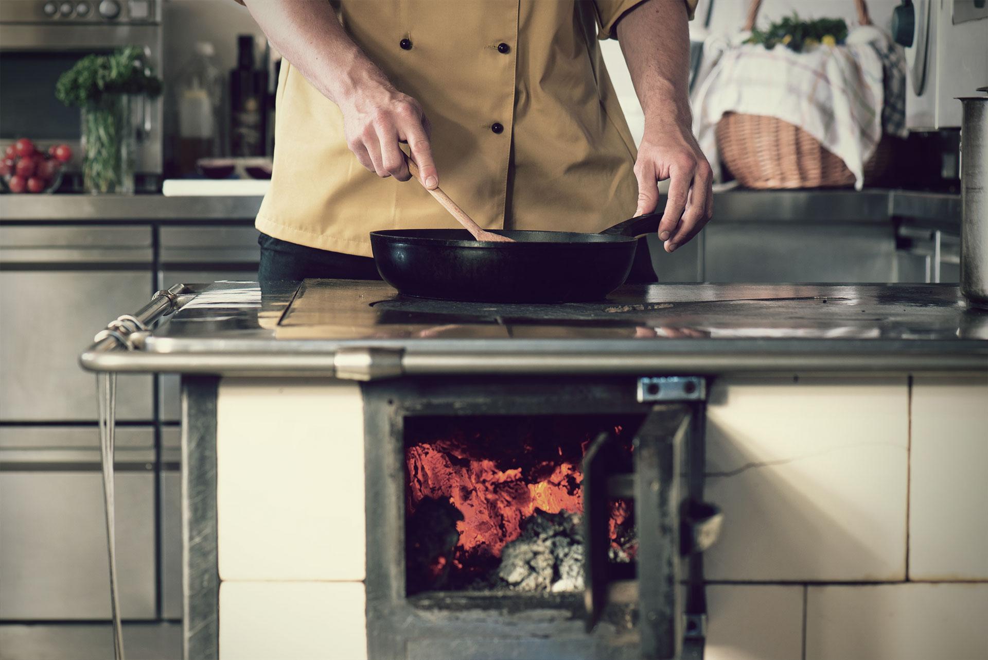 Kochen am Holzherd